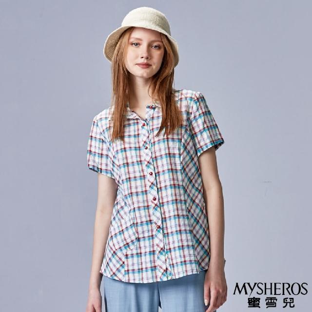 【MYSHEROS 蜜雪兒】純棉清新格紋小口袋襯衫上衣(紅)
