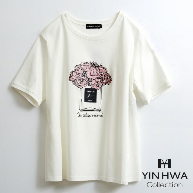 【YIN HWA 盈樺】FrescOggi 時尚休閒簡約造型香水瓶花朵印花上衣