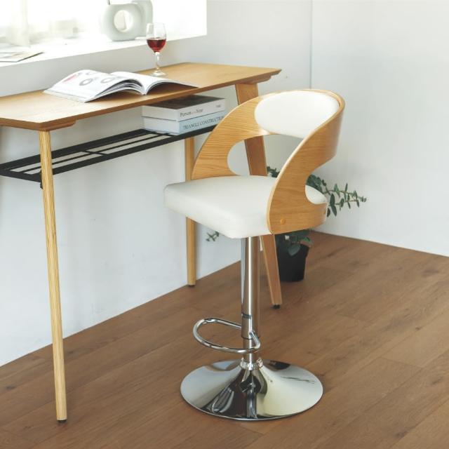【PEACHY LIFE 完美主義】諾亞現代復古皮革木吧台椅/高腳椅(二色可選)