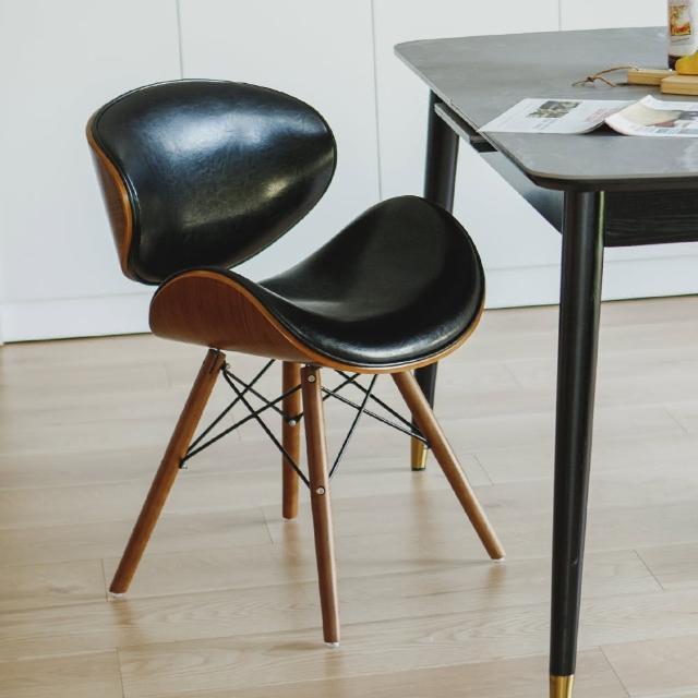 【PEACHY LIFE 完美主義】現代復古皮革曲木餐椅(三色可選)