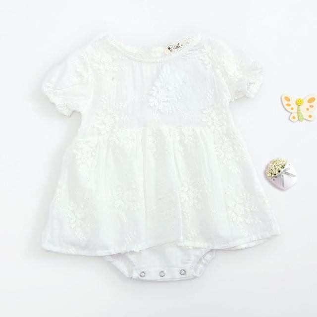 【橘魔法】短袖 刺繡花紋棉紗包屁衣(新生兒 滿月 周歲 白色洋裝 童裝 嬰兒 洋裝)