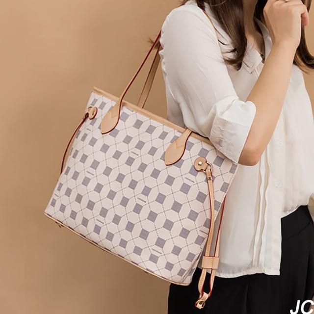【JC Collection】歐美復古精緻多隔層大容量經典子母托特包側肩包(米白色)