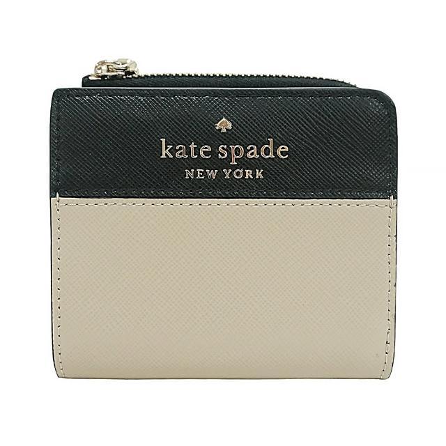 【KATE SPADE】Kate Spade銀字LOGO撞色設計防刮牛皮6卡釦式拉鍊零錢短夾(米x黑)