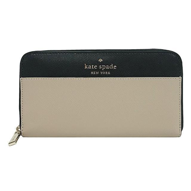 【KATE SPADE】Kate Spade銀字LOGO撞色設計防刮牛皮12卡拉鍊風琴長夾(米x黑)