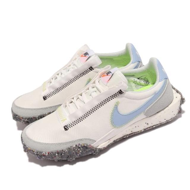 【NIKE 耐吉】休閒鞋 Waffle Racer Crater 女鞋 復古鞋型 鬆餅格紋外底 再生材質 穿搭 白 藍(CT1983-106)