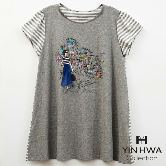 【YIN HWA 盈樺】FrescOggi 都會休閒彩色印花條紋拼接長版上衣