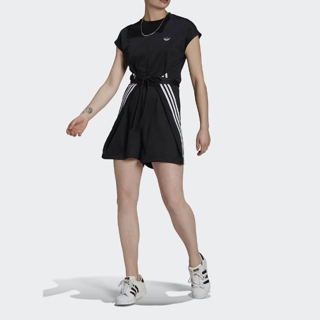 【adidas 愛迪達】連身裝 女款 運動 連身褲 洋裝 三葉草 SHORT JUMPSUIT 黑 GN3175