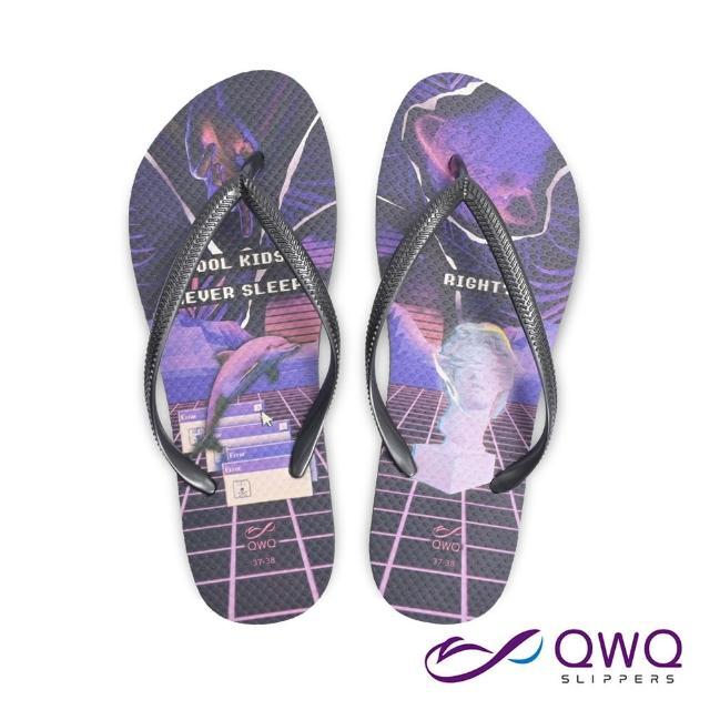 【QWQ】女款防水夾腳拖鞋 防滑情侶人字拖鞋 酷孩子不睡 銀河灰(ACBC00805)