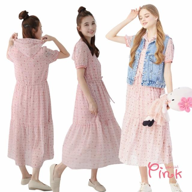 【PINK NEW GIRL】甜美豹紋短袖連帽雪紡洋裝 J1101AQ(粉色)