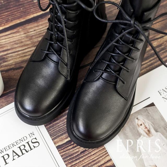 【EPRIS 艾佩絲】現貨 經典街頭潮流 日常穿搭真皮黑色靴 不磨腳時尚好搭配 35-40-帥氣黑(黑色厚底靴)