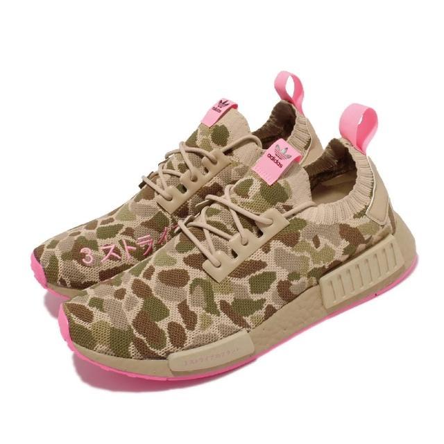 【adidas 愛迪達】休閒鞋 NMD_R1 PK 襪套 運動 男女鞋 海外限定 Boost避震 情侶款 迷彩 卡其 粉(G57940)