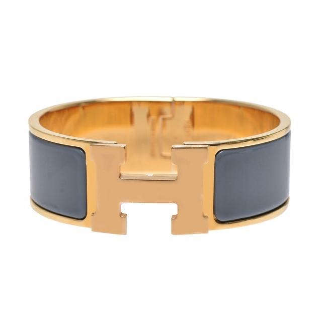 【Hermes 愛馬仕】Clic H LOGO琺瑯中版手環(灰藍/金H300001F-Gray blue-OR)