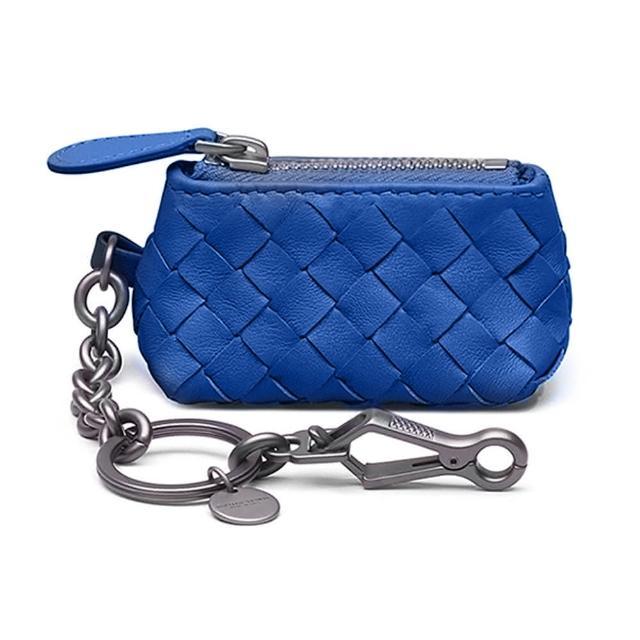【BOTTEGA VENETA 寶緹嘉】474567 經典編織小羊皮吊鍊鑰匙包/零錢包(藍色)