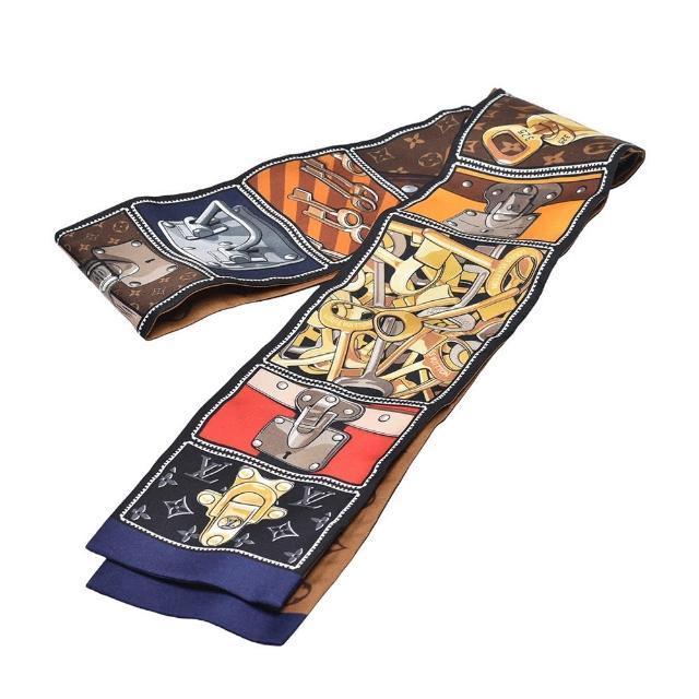 【Louis Vuitton 路易威登】M76977經典LOCK IT BANDEAU行李箱圖案長絲巾(棕色)
