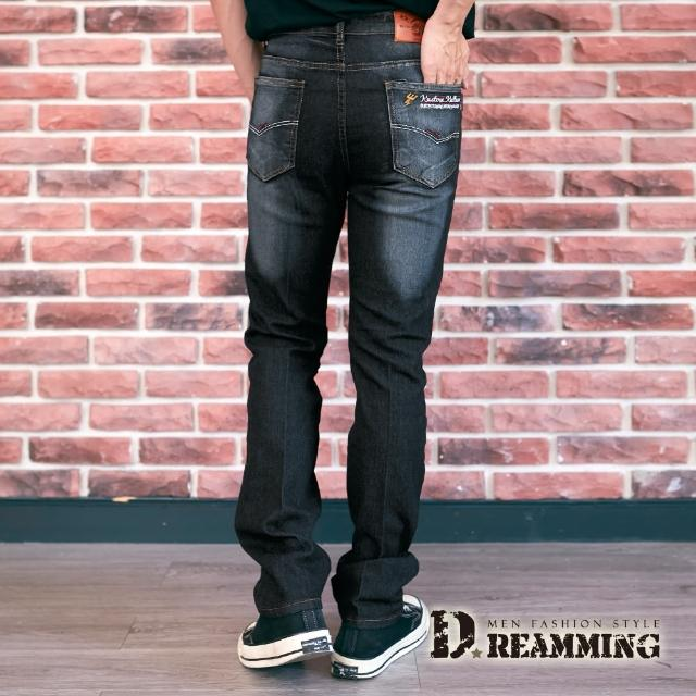 【Dreamming】閃電刺繡刷白伸縮修身牛仔褲 彈力 透氣(黑色)