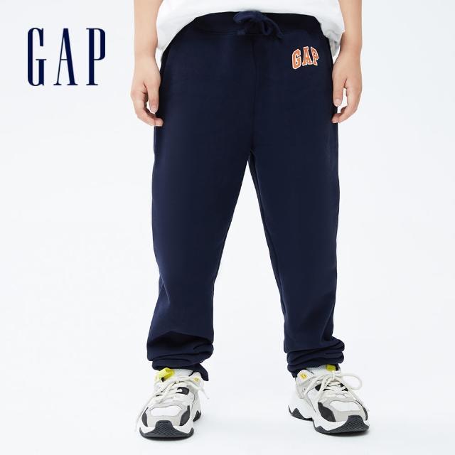 【GAP】男童 Logo刷毛運動長褲(740211-海軍藍)