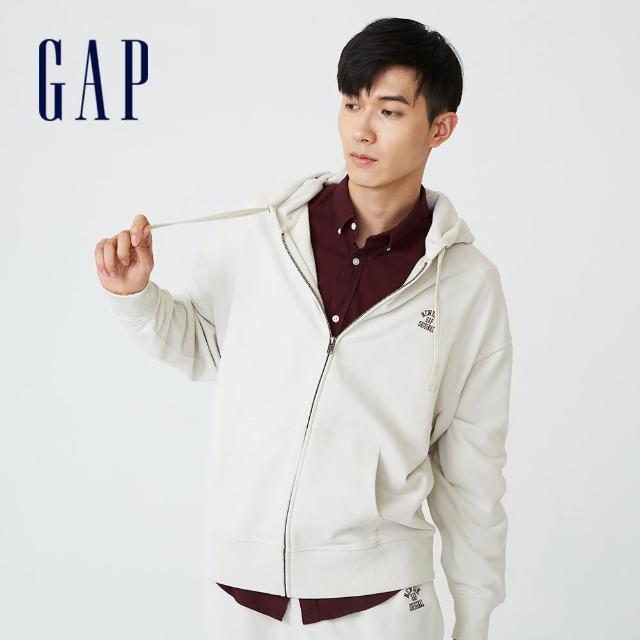 【GAP】男裝 印花法式圈織軟連帽外套(735933-灰白色)