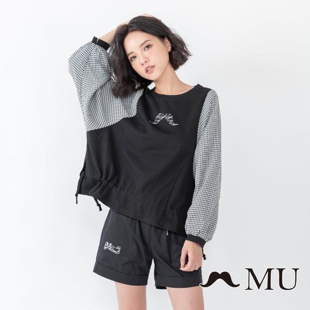 【maru.a】MU 胸前LOGO印花拼接小格紋下擺抽繩上衣(黑色)