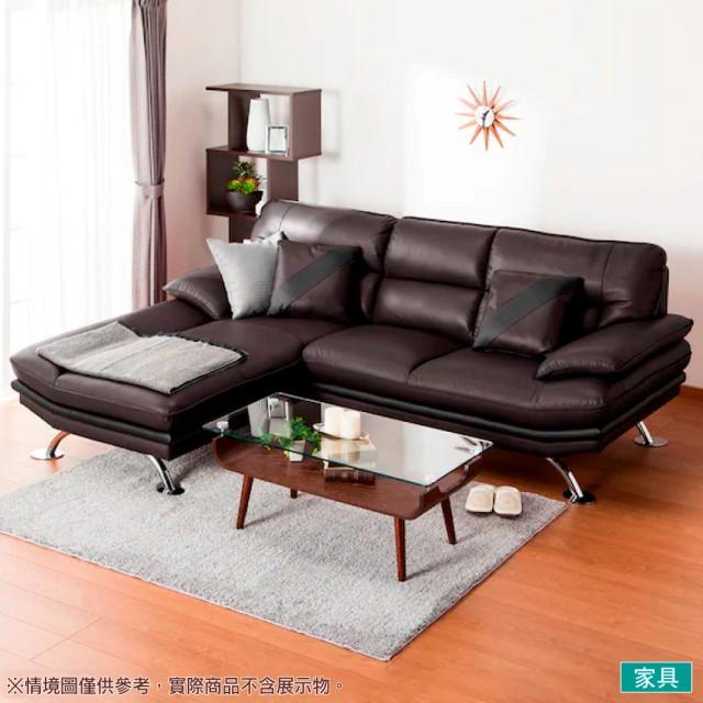 【NITORI 宜得利家居】◎半皮L型右躺椅沙發 LOZO4 LC DBR(L型沙發 角落沙發 躺椅沙發)
