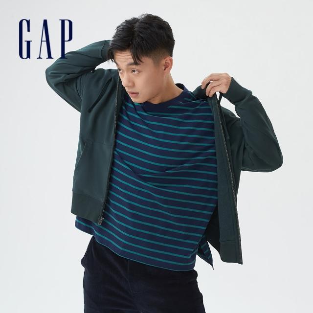 【GAP】男裝 印花法式圈織軟連帽外套(735933-綠色)