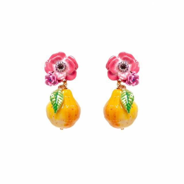 【Les Nereides】小小庭園-罌粟花與西洋梨耳環