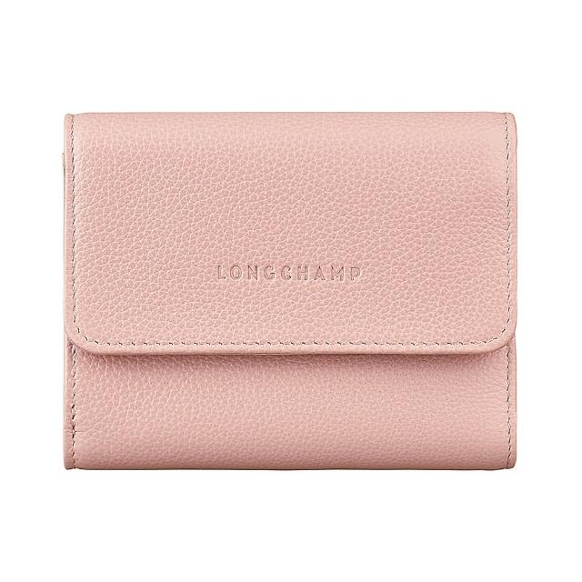 【LONGCHAMP】LONGCHAMP LE FOULONNE壓印LOGO牛皮6卡扣式短夾(淡粉)