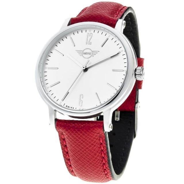 【MINI SWISS WATCHES】石英錶 38.5mm 白錶面 紅色皮錶帶(紅色)