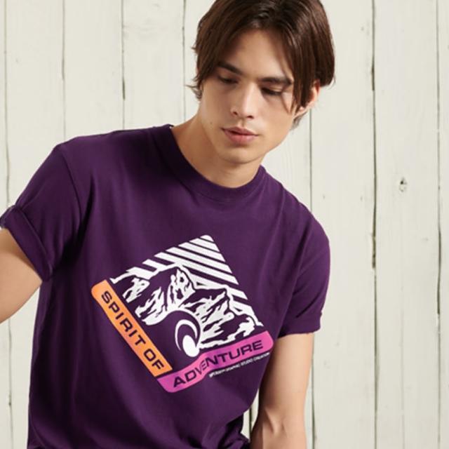 【Superdry】男裝 短袖T恤 MOUNTAIN RELAX FIT(淺酒紅)