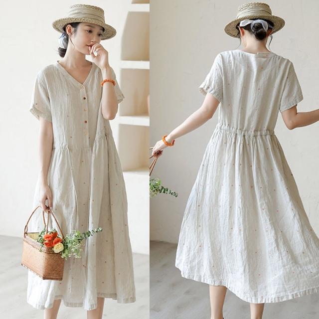 【設計所在】高定褶皺匹繡法國雨露亞麻復古寬鬆洋裝 Q210432(S-L可選)