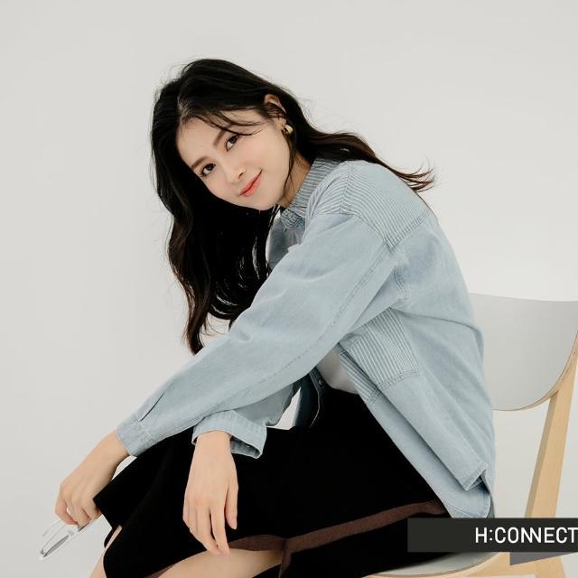 【H:CONNECT】韓國品牌 女裝 -率性牛仔條紋拼接長袖襯衫(藍)