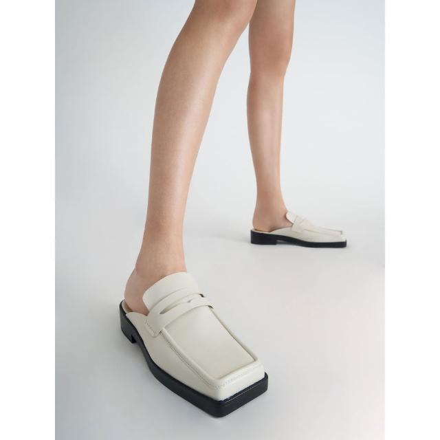 【CHARLES & KEITH】方頭厚底穆勒鞋-石灰白