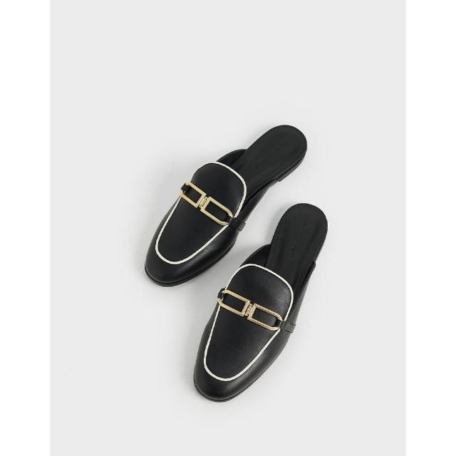 【CHARLES & KEITH】金屬釦穆勒鞋-黑色