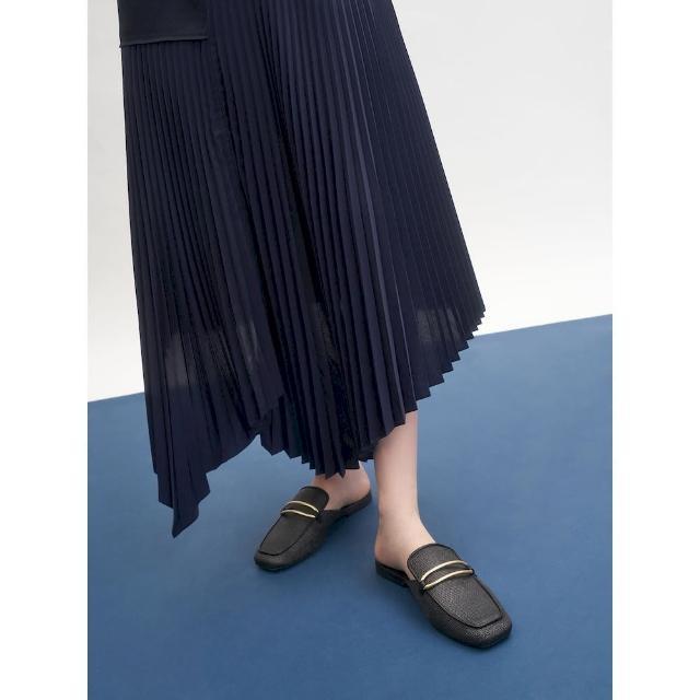 【CHARLES & KEITH】金屬環草編穆勒鞋-黑色