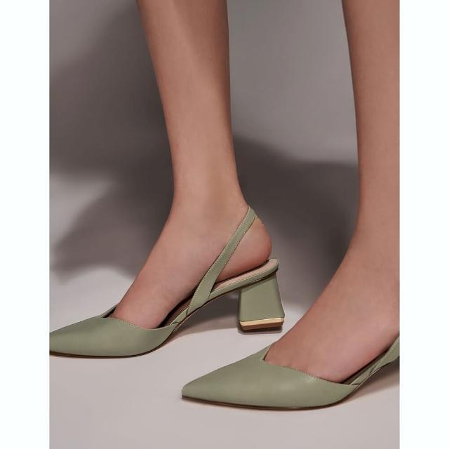 【CHARLES & KEITH】V字後踝帶跟鞋-灰綠色