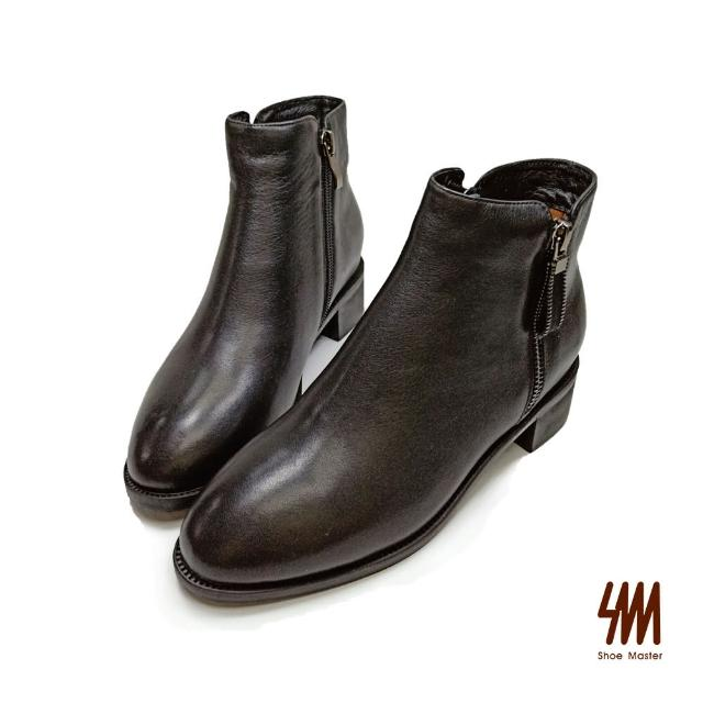 【SM】顯瘦尖頭素面牛皮短靴(時尚黑)