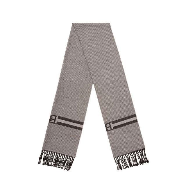 【BALLY】ACCESSORIES灰色B-chain造型羊毛圍巾(圍巾)