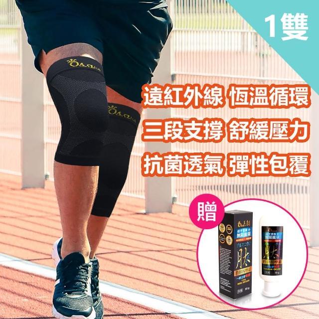 【王鍺】石墨烯智慧恆溫能量鍺護膝1雙+鍺能量胜肽按摩霜1瓶組(全效支撐/深層舒壓/靈活自如)