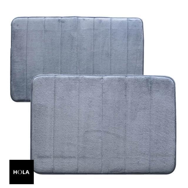【HOLA】新超吸水舒壓踏墊線條霧藍 50x80cm x1+40x60cm x1