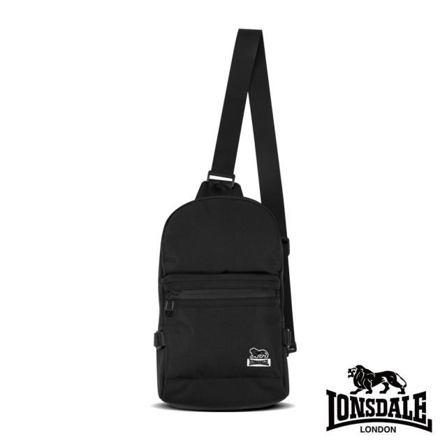 【LONSDALE 英國小獅】率性潮流系列-多隔層單肩包(黑色 LD1613)
