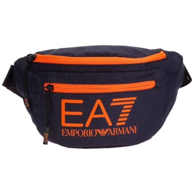 【EA7】EA7 橘色LOGO 腰包(黑色)