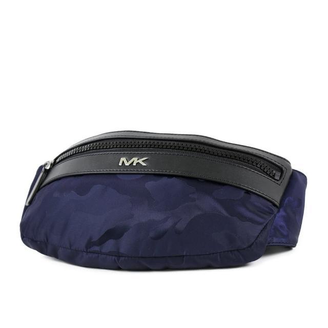 【Michael Kors】男款 銀字高密度尼龍腰包/單肩斜背包-藍迷彩